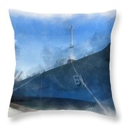 Uss Iowa Battleship Starboard Side Photo Art 01 Throw Pillow