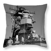 Uss Iowa Battleship Starboardside Bridge 02 Bw Throw Pillow