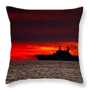 Uss Makin Island At Sunset Throw Pillow