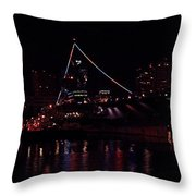 Uss Midway At Night Throw Pillow