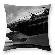 Uss Midway Helicopter Throw Pillow