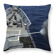 Uss Philippine Sea Fires Its Mk 45 Throw Pillow by Stocktrek Images