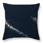 Uss Stockdale And The Canadian Frigate Throw Pillow