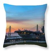Uss Yorktown Sunset Throw Pillow