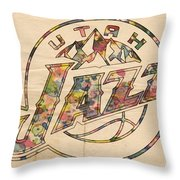 Utah Jazz Poster Art Throw Pillow by Florian Rodarte