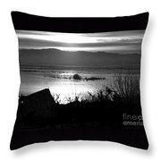 Utah Lake Dusk 03 - Bw Throw Pillow