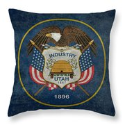 Utah State Flag Vintage Version Throw Pillow