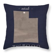 Utah State University Aggies Logan College Town State Map Poster Series No 117 Throw Pillow