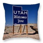 Utah Welcomes You State Sign Throw Pillow