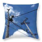 Utility Poles And Clouds 2 Throw Pillow