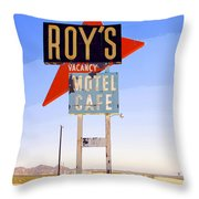 Vacancy Route 66 Throw Pillow
