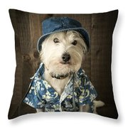 Vacation Dog Throw Pillow by Edward Fielding
