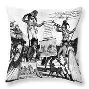Vaccination Cartoon, C1800 Throw Pillow