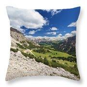 Val Badia From Gardena Pass Throw Pillow