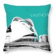 Valencia Skyline City Of Arts And Sciences - Aqua Throw Pillow