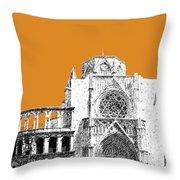 Valencia Skyline Valencia Cathedral - Dark Orange Throw Pillow