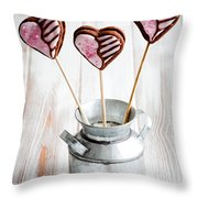 Valentine Cookie Pops Throw Pillow