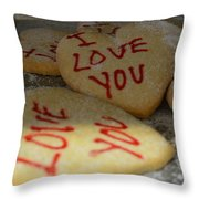 Valentine Wishes And Cookies Throw Pillow