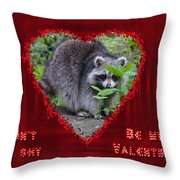 Valentine's Day Greeting Card - Raccoon Throw Pillow
