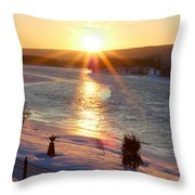 Valentines Day Snowstorm Sunset Throw Pillow