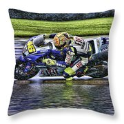 Valentino Rossi At Indy Throw Pillow