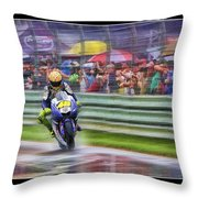 Valentino Rossi Fans Line The Fence Throw Pillow
