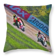 Valentino Rossi Leads Marco Simoncelli Throw Pillow