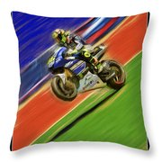 Valentino Rossi Wheely Down The Blue Red And Green Throw Pillow