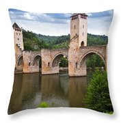 Valentre Bridge In Cahors France Throw Pillow