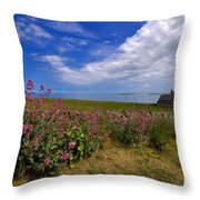 Valerian By A Stone Wall On The Northumberland Coast Throw Pillow