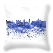 Valletta Skyline In Blue Watercolor On White Background Throw Pillow