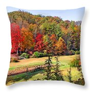 Valley Farm In The Fall Throw Pillow