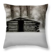 Valley Forge Cabin In Winter Throw Pillow