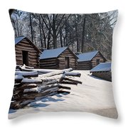 Valley Forge Cabins After A Snow Throw Pillow