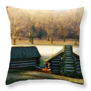 Valley Forge Cabins Throw Pillow