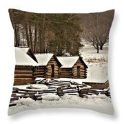 Valley Forge Cabins In Snow 2 Throw Pillow