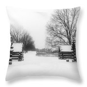 Valley Forge Cabins In Snow Throw Pillow