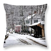 Valley Green In Winter Along Forbidden Drive Throw Pillow