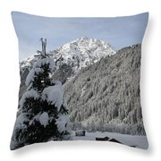 Valley In The Snow Throw Pillow