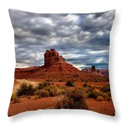 Valley Of The Gods Stormy Clouds Throw Pillow