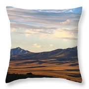 Valley Shadows Snowy Peaks Throw Pillow