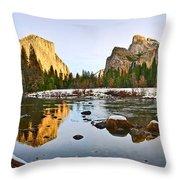 Vally View Panorama - Yosemite Valley. Throw Pillow