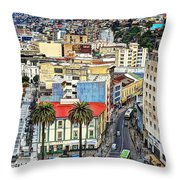 Valparaiso A Color Palette City Throw Pillow