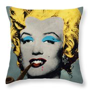 Vampire Marilyn With Surreal Pipe Throw Pillow