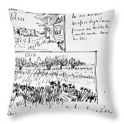 Van Gogh Letter, 1888 Throw Pillow