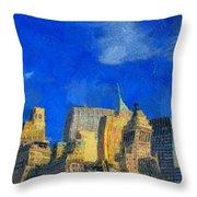 Van Gogh Meets Manhattan Throw Pillow