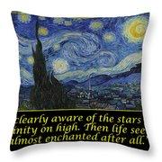Van Gogh Motivational Quotes - Starry Night II Throw Pillow