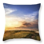 Van Gogh Style Digital Painting Beautful Summer Evening Landscape Over Wetlands And Harbour Throw Pillow
