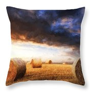 Van Gogh Style Digital Painting Beautiful Golden Hour Hay Bales Sunset Landscape Throw Pillow