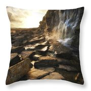 Van Gogh Style Digital Painting Beautiful Landscape Image Waterfall Flowing Into Rocks On Beach  Throw Pillow